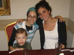 """Rivky Holtzberg z""""l, Hillary Lewin (R), and 2 year old Moshe - who was saved by the nanny."""