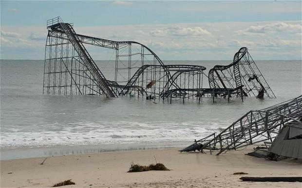Damaged roller coaster in Seaside Heights, NJ