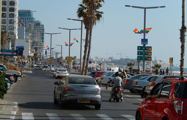 Pride Flags along Frishman Beach in Tel Aviv