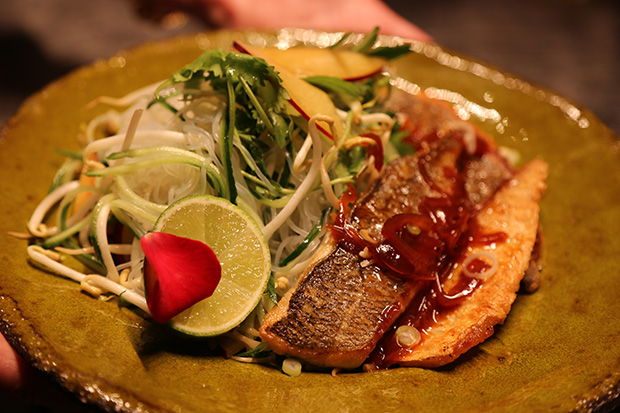 """Vietnam,"" crispy-skinned sea bream fillets"