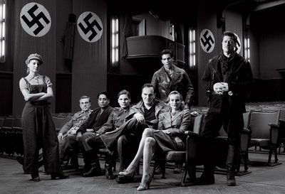 On the set of Basterds, the cast with filmmaker Tarantino
