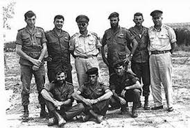 Young Sharon, Standing Second from left, Moshe Dayan is standing Third from Left